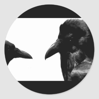 Crow and Raven Round Sticker