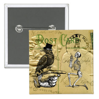 Crow and skeleton 15 cm square badge