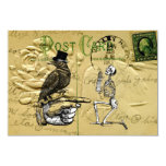 Crow and skeleton 9 cm x 13 cm invitation card