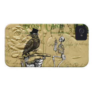 Crow and skeleton iPhone 4 cover