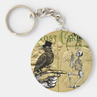 Crow and skeleton key ring