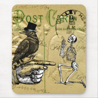 Crow and skeleton mouse mat