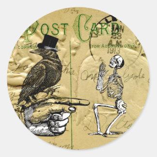 Crow and skeleton round sticker