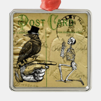 Crow and skeleton Silver-Colored square decoration