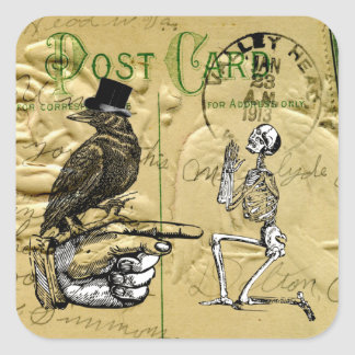 Crow and skeleton square sticker