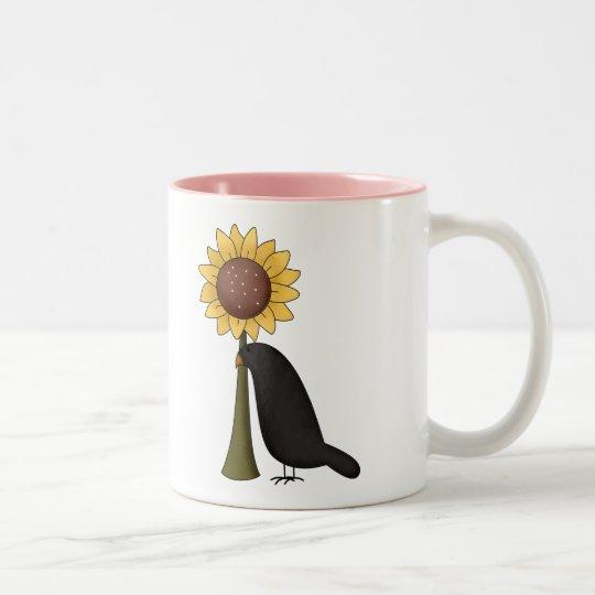 Crow and Sunflower Two-Tone Coffee Mug