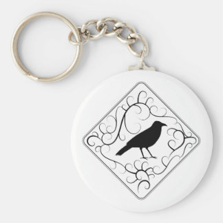 Crow and Swirls Pattern. Black and White. Key Ring
