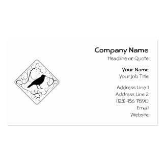Crow and Swirls Pattern. Black and White. Pack Of Standard Business Cards
