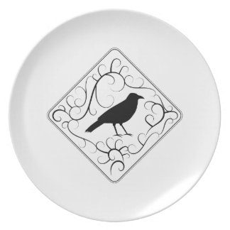 Crow and Swirls Pattern. Black and White. Plate