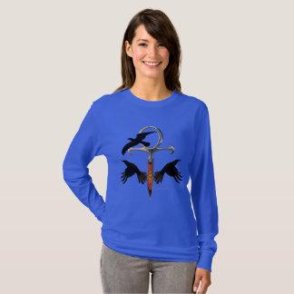 Crow Ankh Ladies Long Sleeve Shirt
