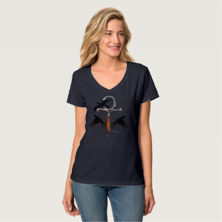 Crow Ankh Ladies V-Neck Nano T-Shirt