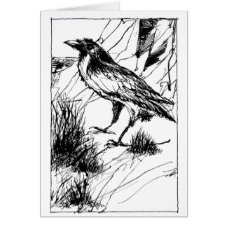 Crow at Cliff folded card