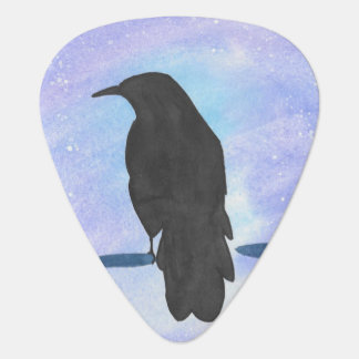 Crow At Night Guitar Pick