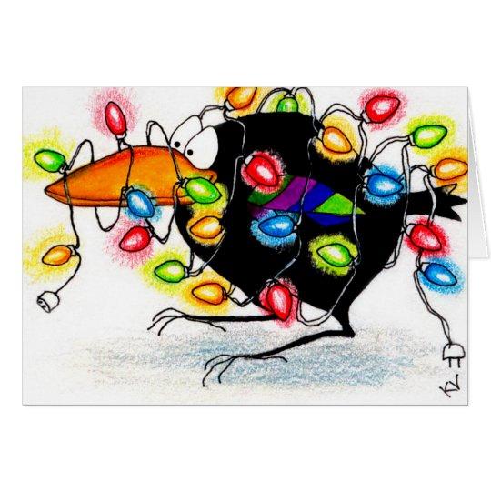 Crow cartoon funny Christmas lights card
