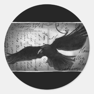 Crow deluxe round sticker