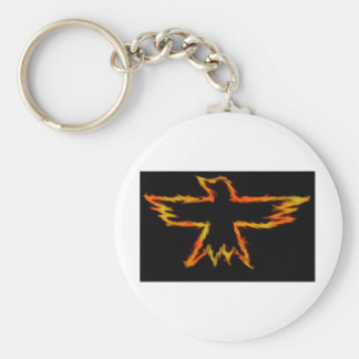 Crow flame basic round button key ring