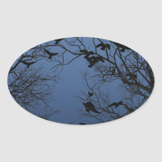 Crow flock oval sticker