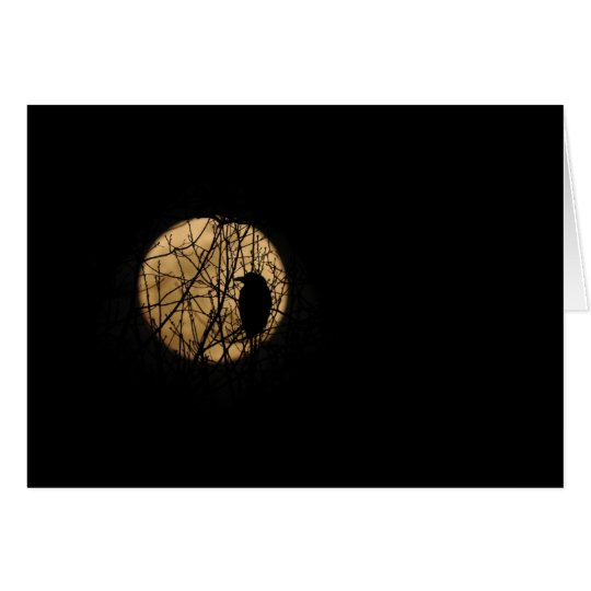 Crow & Full Moon (Composite) Greeting Card, Blank