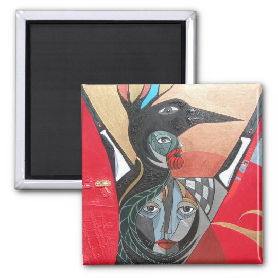 crow he crow she full painting magnet