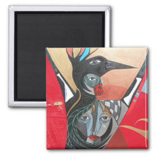 crow he crow she full painting square magnet