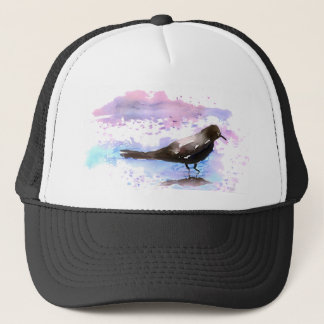 Crow In A Puddle Trucker Hat