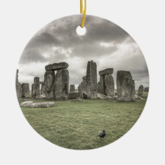 Crow in front of Stonehenge, England Christmas Ornament
