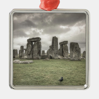 Crow in front of Stonehenge, England Silver-Colored Square Decoration