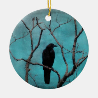 Crow In Tree Christmas Ornament