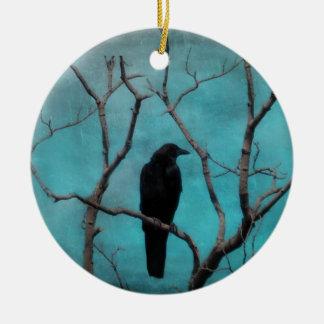 Crow In Tree Round Ceramic Decoration