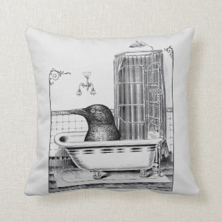 Crow In Vintage Bathtub Throw Pillow