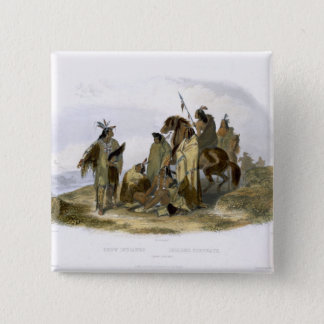 Crow Indians, plate 13 from volume 1 of `Travels i 15 Cm Square Badge