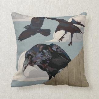 Crow invasion throw pillow