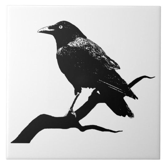 Crow Large Square Tile