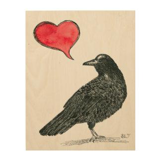 Crow Love wood wall art