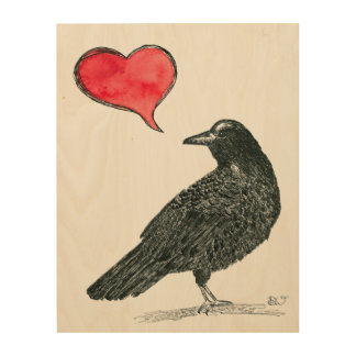 Crow Love wood wall art Wood Prints