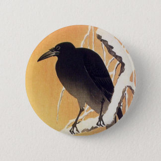 Crow on a Branch by Ohara Koson Vintage 6 Cm Round Badge