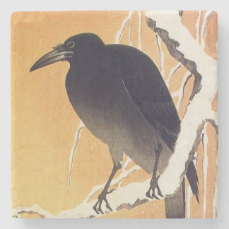 Crow on a Branch by Ohara Koson Vintage Stone Coaster