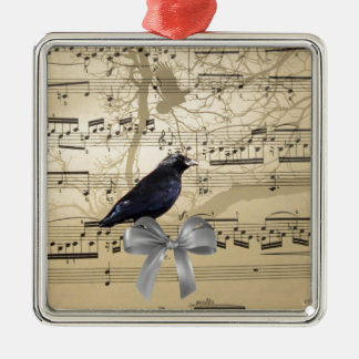 Crow on a music sheet christmas ornament