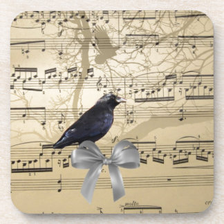 Crow on a music sheet coaster