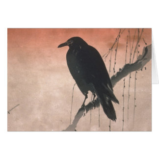 Crow on a Willow Branch Card