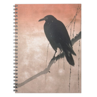 Crow on a Willow Branch Spiral Notebook