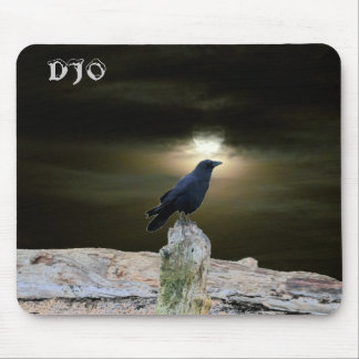 Crow on Driftwood Beach getting Moon Tan Mouse Mat
