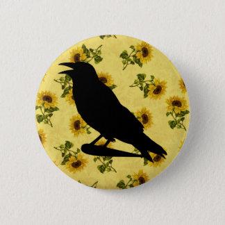 Crow on Sunflowers 6 Cm Round Badge