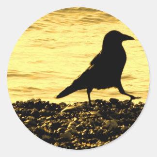 Crow on the Beach Classic Round Sticker