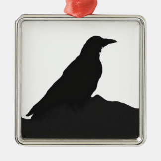 Crow outline Silver-Colored square decoration