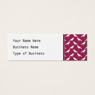 Crow Pattern. Burgundy and White. Mini Business Card