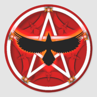 Crow Pentacle - Red Classic Round Sticker