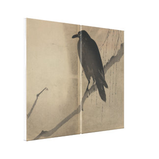Crow Perched on Willow Branch Gallery Wrap Canvas