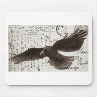 crow postcard background mouse pad