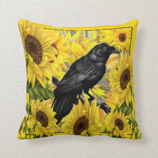 CROW/RAVEN AMONGST YELLOW SUNFLOWERS CUSHION